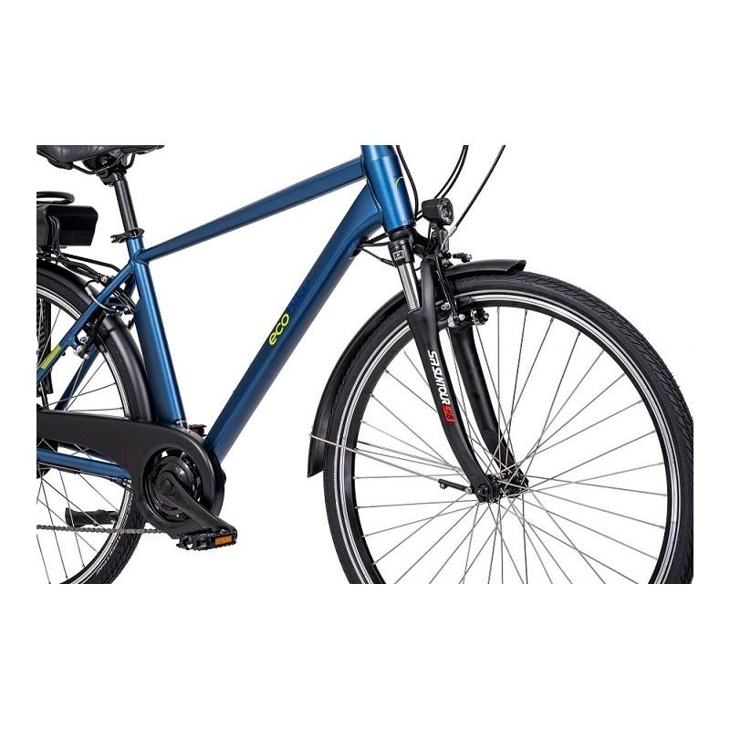 niebieski rower elektryczny Ecobike Trafik Men