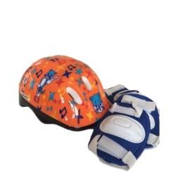 Kask dziecięcy S + ochraniacze na kolana i łokcie (plecak) - wzór, pomarańczowy w nuty